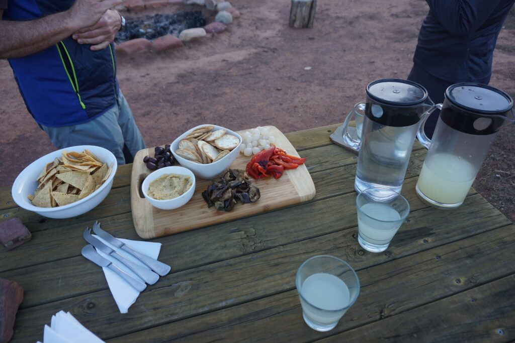 Australian cheese platter and snacks after a long hiking day during Arkaba Walk in Filinders Ranges, Australia